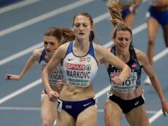 Amy-Eloise Markovc (centre) crosses the finish line first in Torun, with fellow Briton Verity Ockenden coming (left) third (Czarek Sokolowski/AP).