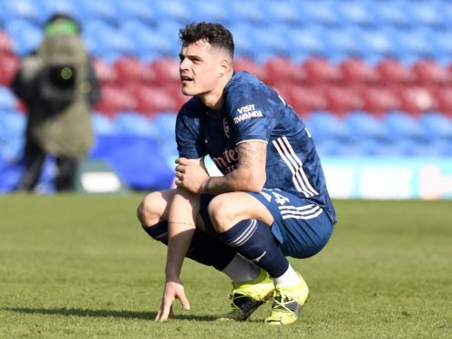 Granit Xhaka after his error gifted Burnley a goal (Peter Powell/PA)