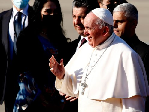 Pope Francis arrives at Irbil international airport in Iraq (Hadi Mizban/AP)