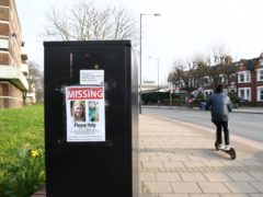 A missing poster along the A205 Poynders Road in Clapham (Kirsty O'Connor/PA)