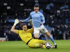 Phil Foden was controversially not awarded a penalty following a challenge by Alex McCarthy against Southampton (Clive Brunskill/PA)