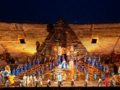 A huge pyramid dominates the stage of the opening performance of Giuseppe Verdi's Aida in the Verona Arena, northern Italy in 2002 (Claudio Martinelli/AP)