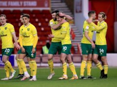 Norwich players celebrate Kieran Dowell's goal (Mike Egerton/PA)