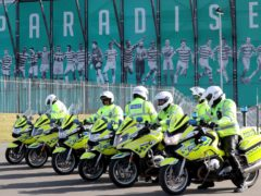 Officers were stationed outside Celtic Park in the lead up to the game (Jane Barlow/PA)