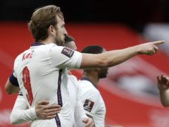 Harry Kane, left, scored his first England goal since November 2019 against Albania (Florian Abazaj/PA)