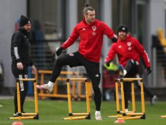 Wales captain Gareth Bale (centre) training ahead of Tuesday's World Cup qualifier against the Czech Republic (Nick Potts/PA)