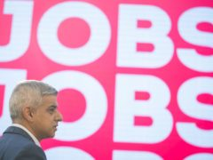 Sadiq Khan during campaigning for the London mayoral election (Aaron Chown/PA)