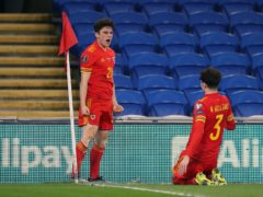Daniel James (left) celebrates his winner for Wales with Neco Williams in the 1-0 victory over the Czech Republic (Nick Potts/PA)