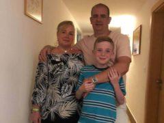 Linda Boniface with fiance Mark and son Riley (Linda Boniface/PA)