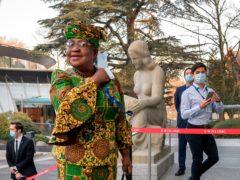 Ngozi Okonjo-Iweala arrives at the WTO headquarters in Geneva (Fabrice Coffrini/Pool/Keystone via AP)