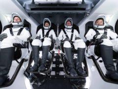 SpaceX Crew 2 (L to R) Thomas Pesquet, Megan McArthur, Shane Kimbrough and Akihiko Hoshide (SpaceX/Nasa)