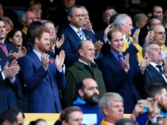 Prince Harry, the Duke of Edinburgh and the Duke of Cambridge during the Rugby World Cup Final at Twickenham (Gareth Fuller/PA)