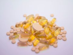 General view of multivitamins, vitamin C tablets and Omega 3 fish oil liquid capsules (PA)