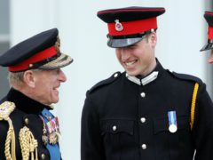 The Duke of Edinburgh with William and Harry at Sandhurst (PA)