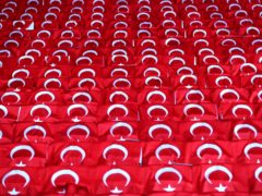 Turkeish flags on seats at a football match (Tim Goode/PA)