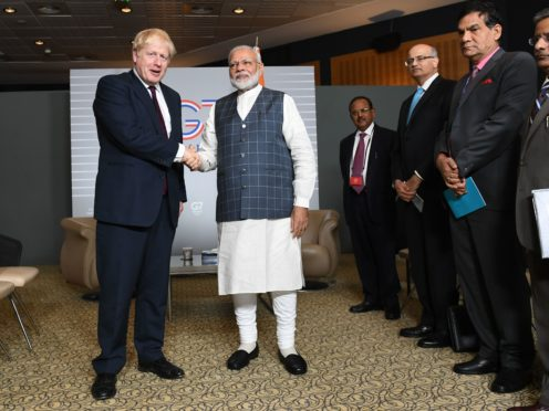 Boris Johnson and Narendra Modi for at the G7 summit in Biarritz, France.