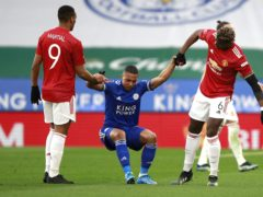 Manchester United and Leicester players both wear adidas kit (Ian Walton/PA)