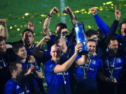 Leinster's Devin Toner lifts the trophy after the PRO14 final (Donall Farmer/PA)