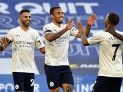 Gabriel Jesus, centre, celebrates scoring Manchester City's second goal at Leicester (Rui Vieira/PA)