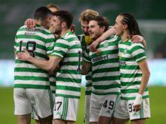 Celtic's James Forrest (second right) opens scoring against Falkirk (Jane Barlow/PA)