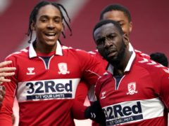 Yannick Bolasie (right) celebrates scoring Middlesbrough's equaliser in a 1-1 draw with Watford with teammate Djed Spence (Owen Humphreys/PA Wire).