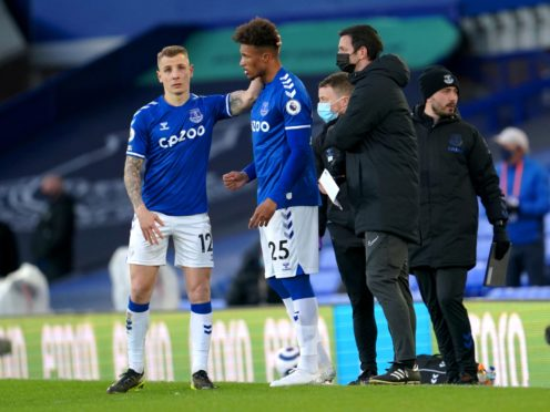 Jean-Philippe Gbamin (centre) came off the bench in Everton's 1-1 draw with Crystal Palace (Jon Super/PA).