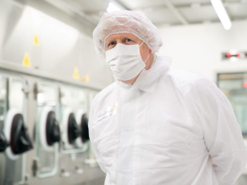 Prime Minister Boris Johnson during a visit to the AstraZeneca site in Macclesfield, Cheshire. Picture date: Tuesday April 6, 2021.
