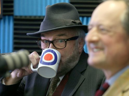 George Galloway, left, and Jamie Blackett have launched the All For Unity Party manifesto (Andrew Milligan/PA)