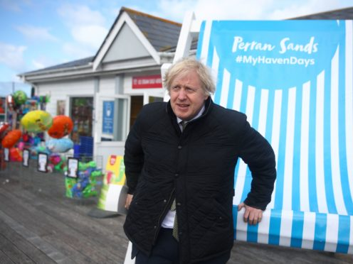 Prime Minister Boris Johnson during a visit to Haven Perran Sands Holiday Park in Perranporth, Cornwall, to see how they are preparing to reopen (Tom Nicholson/PA)