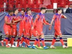 Chelsea players celebrate after Mason Mount's goal (Angel Fernandez/AP)