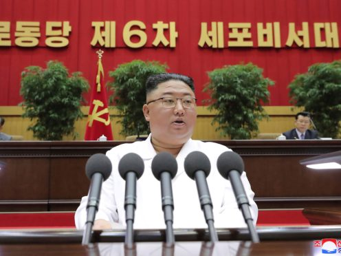 North Korean leader Kim Jong Un has for the first time compared the current economic situation in his country to a 1990s famine that killed hundreds of thousands (Korean Central News Agency/Korea News Service/AP)