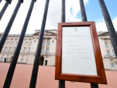 A notice at Buckingham Palace announces the death of the Duke of Edinburgh on Friday (Ian West/PA)