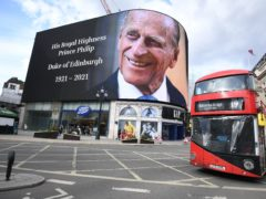A tribute to the Duke of Edinburgh on display at the Piccadilly Lights in central London (Kirsty O'Connor/PA)