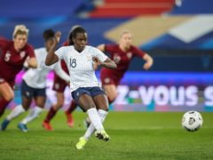 France's Viviane Asseyi converts a second-half penalty against England in Caen (David Vincent/AP)
