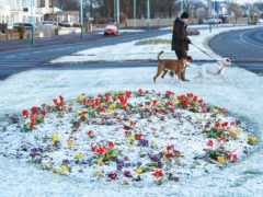 There was a light dusting of overnight snow at Whitley Bay on the North East coast (Owen Humphreys/PA)