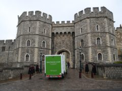 A Waitrose delivery van arrives at the entrance to Windsor Castle (Steve Parsons/PA)