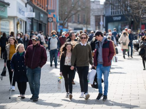Shoppers walk along Haymarket in Norwich as England takes another step back towards normality with the further easing of lockdown restrictions (Joe Giddens/ PA)