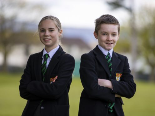 Year 8 pupils Effie Lappin (left) and Ben Borland of Sullivan Upper School in Holywood (Liam McBurney/PA)