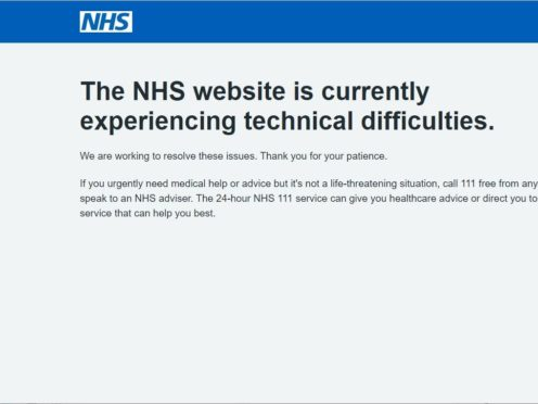 Screengrab of the NHS website for booking vaccination appointments when it crashed on Tuesday morning (PA)