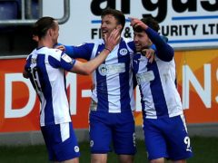 Callum Lang, right, got the winner for Wigan (Simon Marper/PA)