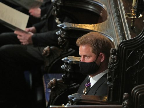 The Duke of Sussex during the funeral (Yui Mok/PA)