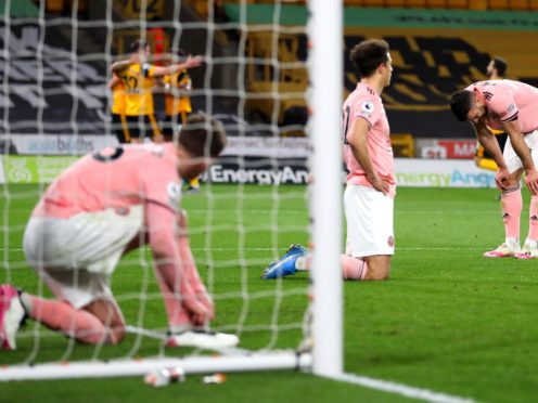 Enda Stevens looks dejected after Sheffield United concede (Catherine Ivill/PA)
