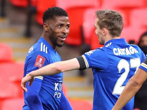 Kelechi Iheanacho, left, scored to send Leicester into the FA Cup final (Richard Heathcote/PA)