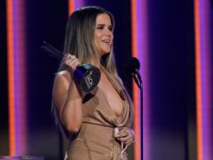 Maren Morris accepts the award for female artist of the year at the 56th annual Academy of Country Music Awards (AP)