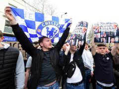 Fans protest against Chelsea's involvement in the new European Super League (Ian West/PA)