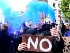 Fans protest outside Stamford Bridge (Ian West/PA)