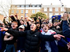 Fans react after potential news that Chelsea are preparing to withdraw from the European Super League (Ian West/PA)