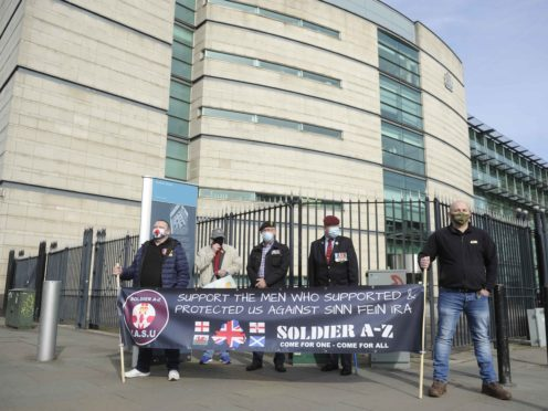 Veterans and supporters of soldiers A and C outside Laganside Courts in Belfast (Mark Marlow/PA)