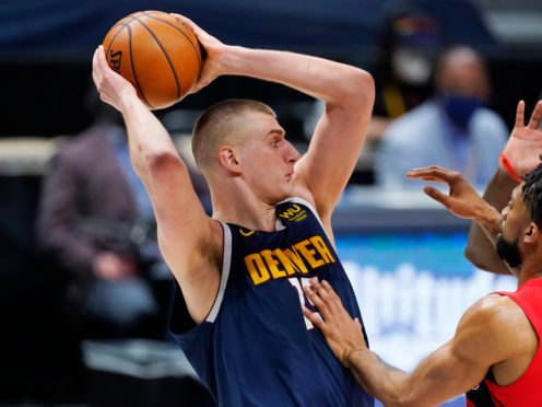 Nikola Jokic needed just three quarters to score his 53rd double-double of the season and help the injury-hit Denver Nuggets to victory over the Toronto Raptors (David Zalubowski/AP)