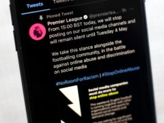 The Premier League's social media profile as the governing body takes part in a social media boycott (Tim Goode/PA)